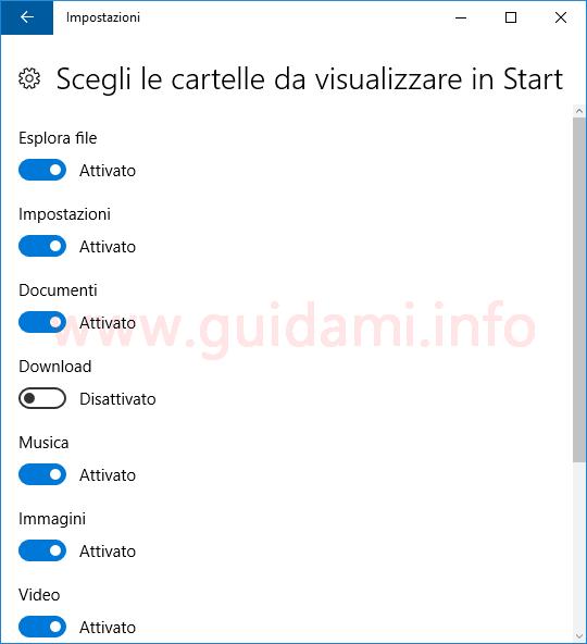 Windows 10 finestra per scegliere le cartelle da visualizzare in Start