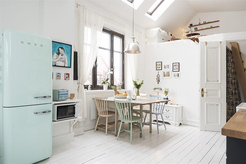 Comedor - Agradables detalles en tono pastel para este precioso mini piso nordico
