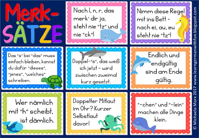 Merksätze für den Deutschunterricht in der Grundschule. Passend auch für DaF.