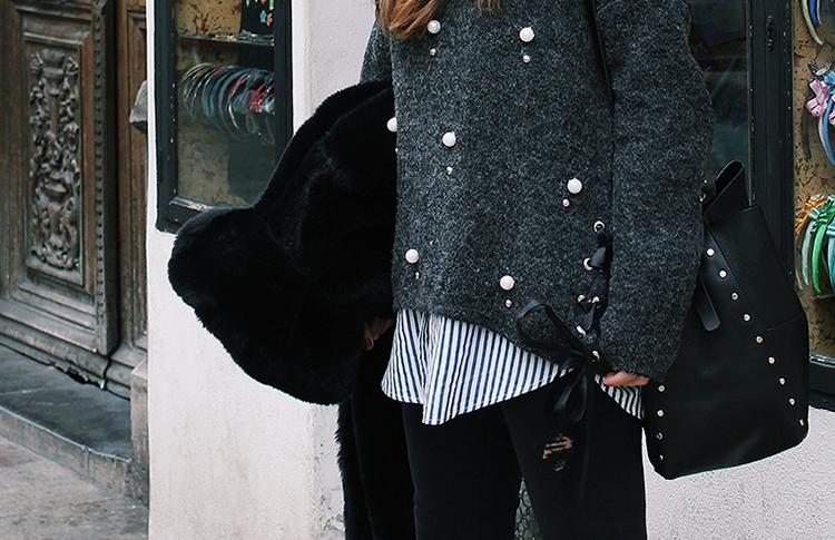 Jersey perlas gris moda