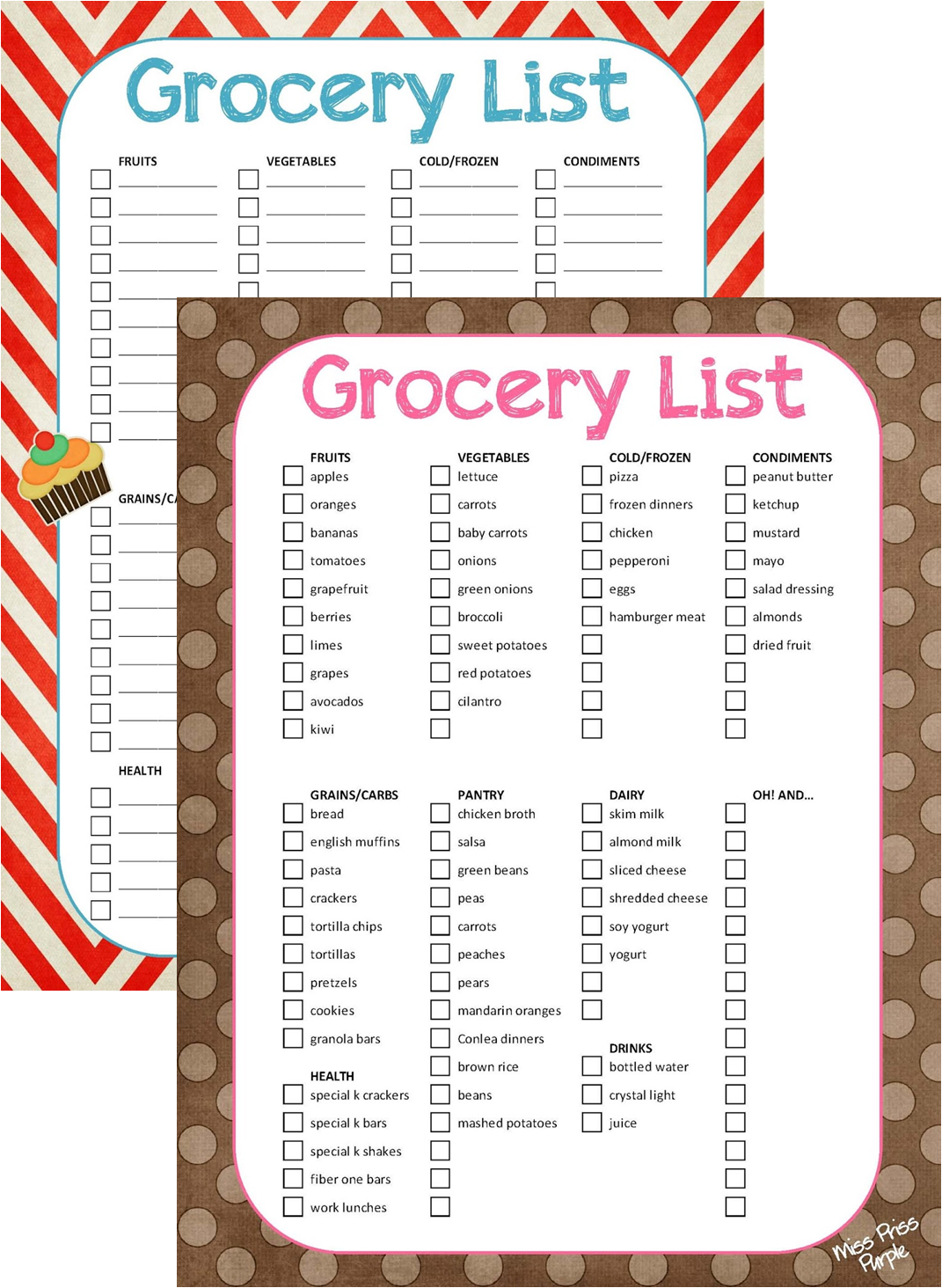 Miss Priss Purple Grocery List Printable