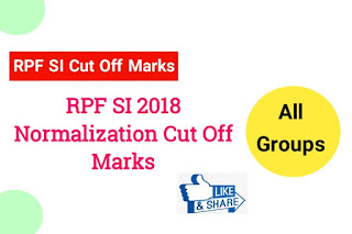 RPF SI 2018 Normalized Cut off Marks For All Groups