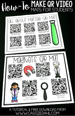 Create easy to use QR mats for students to watch videos during morning work, centers or as an activity for early finishers. The blog post even contains a few free QR mats for you to use in your classroom!