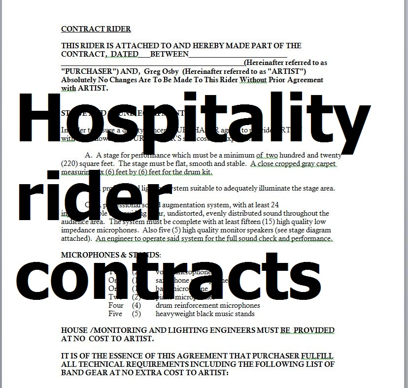 Samples Hospitality Rider Contracts In Word Doc