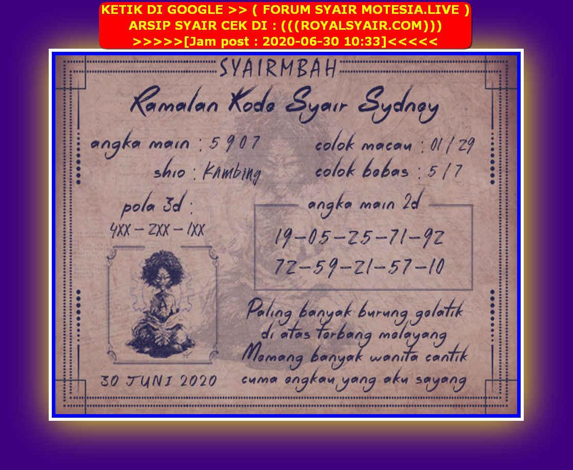 Kode syair Sydney Selasa 30 Juni 2020 39
