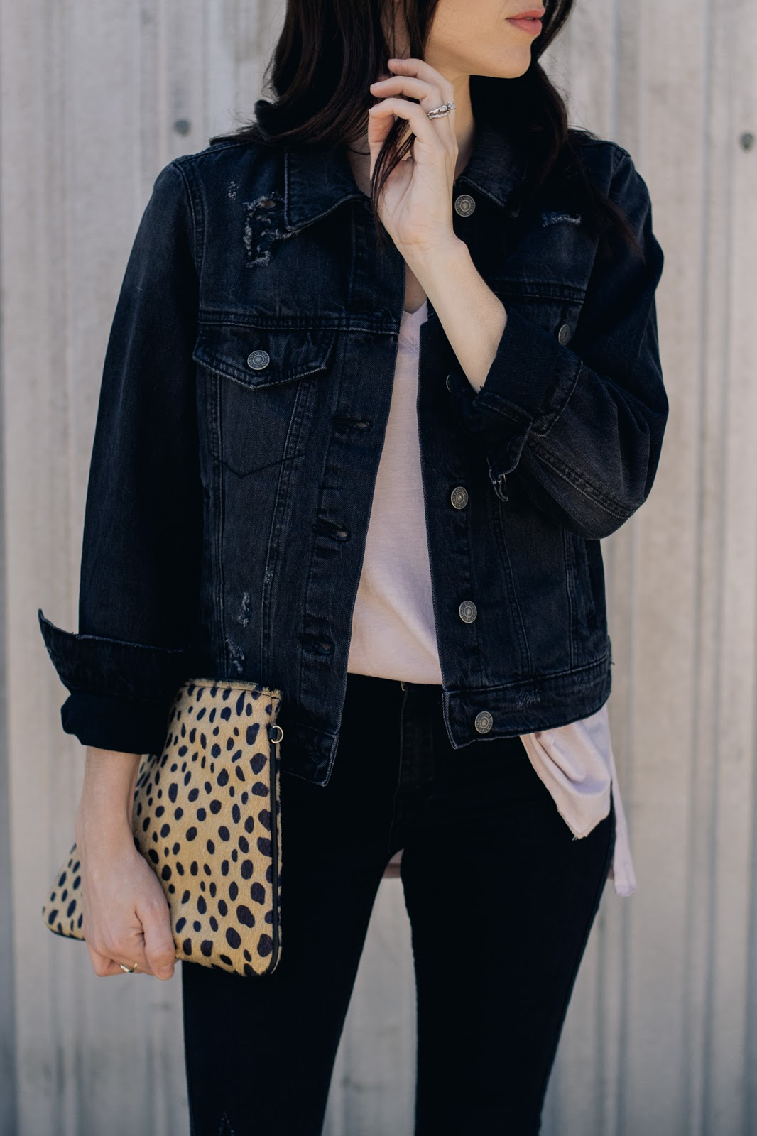 Black Distressed denim jacket and basic tee