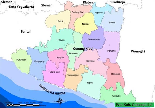Peta Kabupaten Gunungkidul