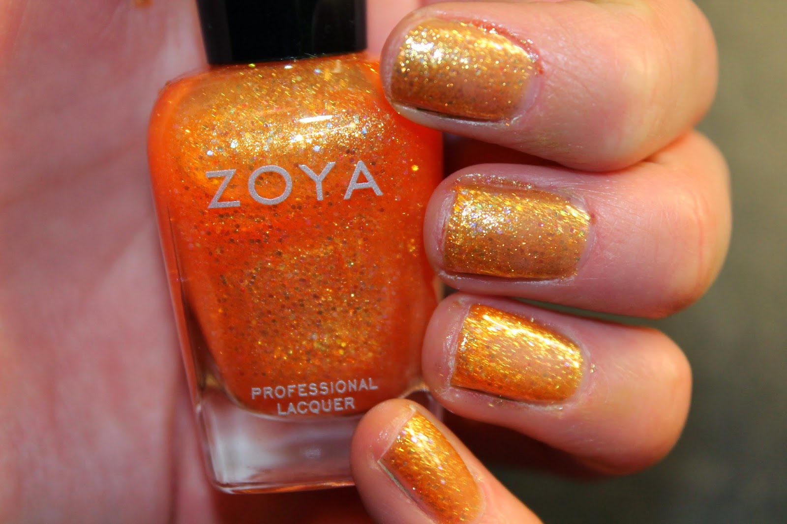 Zoya Nail Laquer Polish - Jesy Orange Bubbly Collection Swatch
