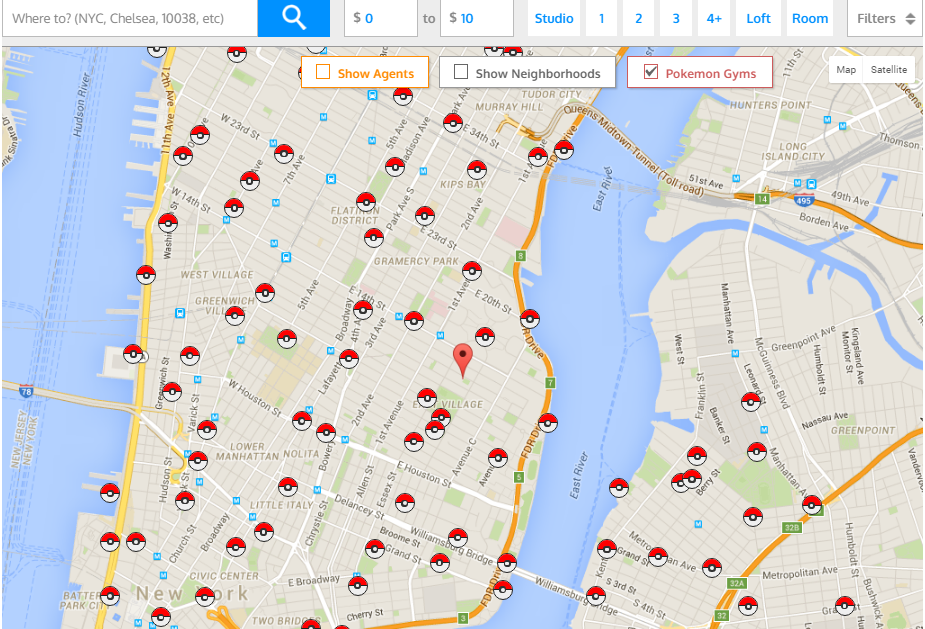 Pokemon Go Nyc Map Catching 'em all: A Map of all Pokémon Gyms in New York City