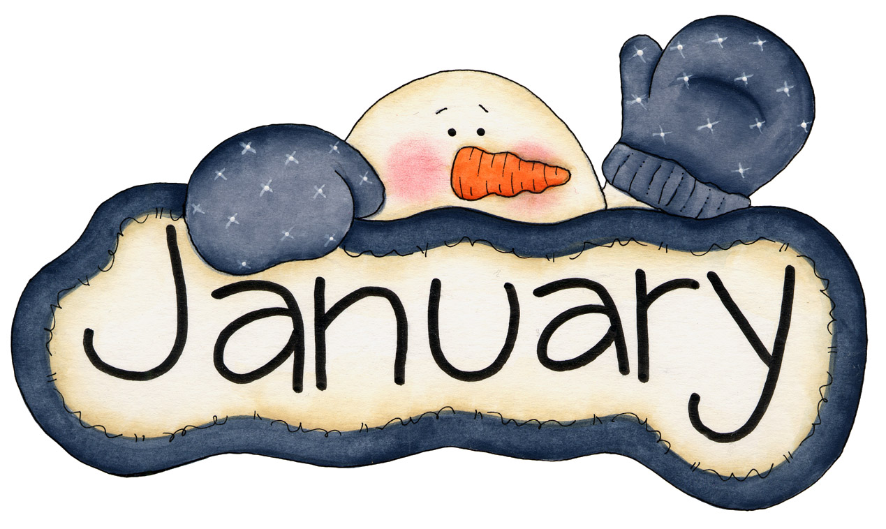 January. Illustration showing January written on a train surrounded by a funny and colouful winter landscape. You can find all the months in my portfolio calendar - month January - .