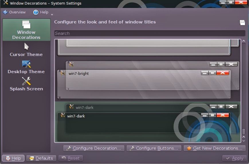 How to change window decorations in KDE 4