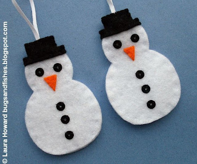 Bugs and fishes by lupin how to felt snowman ornament for Easy christmas felt crafts