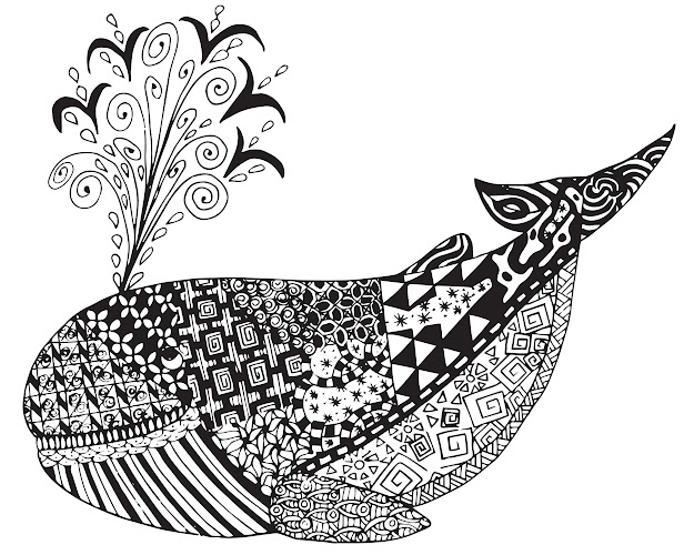 Free Whale Zen Tangles Adult Coloring Page