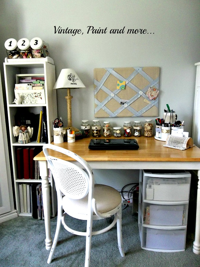 Vintage, Paint and more... vintage craft area, painted white furniture, creative organization, recycled organization