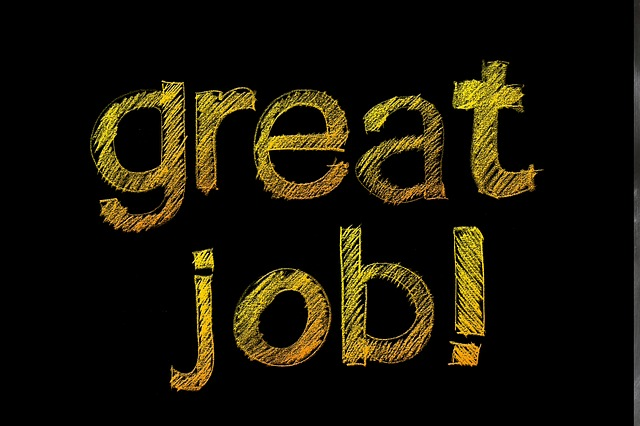 'great job!' written on a chalkboard