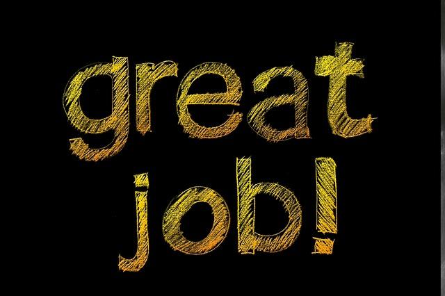 'great job!' written on a chalkboard