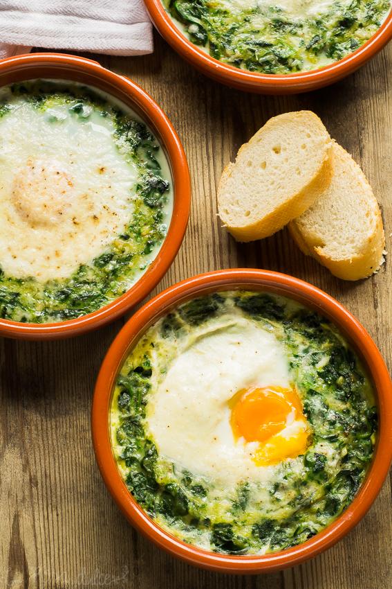 Espinacas con huevos a la crema #singlute #sinlactosa