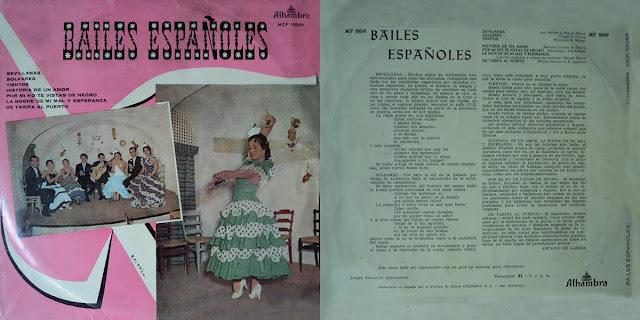 """GASPAR DE UTRERA, LA REPOMPA DE MÁLAGA, MANOLO MAERA, JOSÉ SALAZAR, PACO AGUILETA """"BAILES ESPAÑOLES"""" LP ALHAMBRA 1959 DISCO CONJUNTO DE UN CUADRO DE BAILE"""
