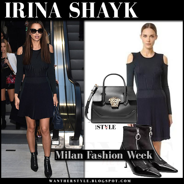 Irina Shayk in dark navy cutout shoulders mini dress versace front row what she wore