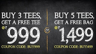 Buy 3 Shirts + 1 FREE T-Shirt for Rs.999 OR Buy 5 Shirts + 1 FREE Bag for Rs.1499 @ Voxpop
