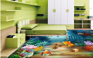 lantai kamar dengan gambar ikan