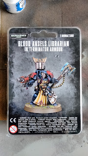 Space marine librarian in terminator armour on sprue in box
