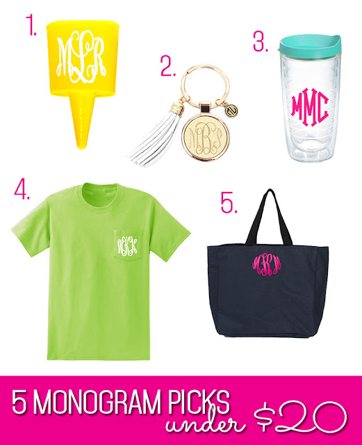 White background image of 5 monogrammed items under $20