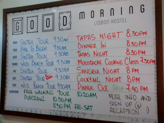 Exemplo de agenda animada proposta pelo GoodMorning Hostel - Lisboa - Portugal