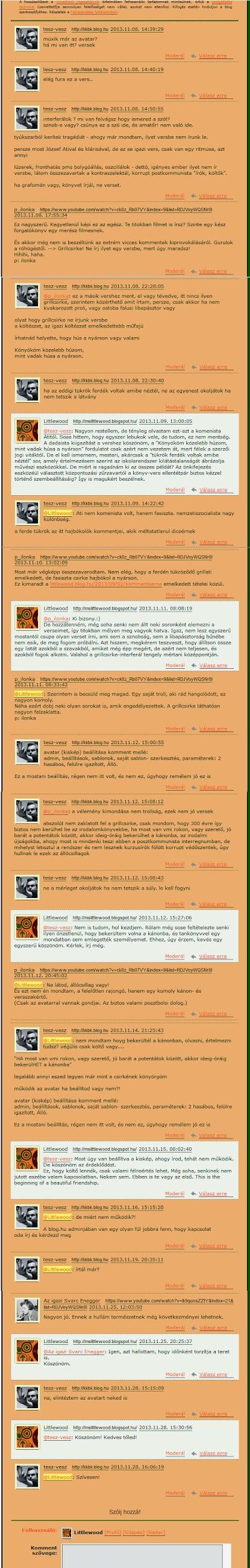 Illusztráció vershez, egy vershez érkezett troll kommentek különböző nicknevek alatt és a rájuk adott válaszok egy törölt blog felületén.