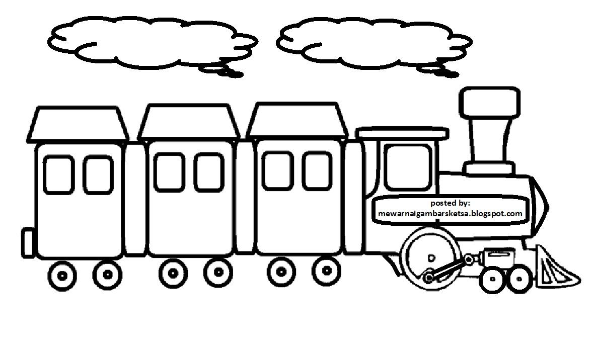 Mewarnai Gambar Sketsa Kereta Api 3 Download