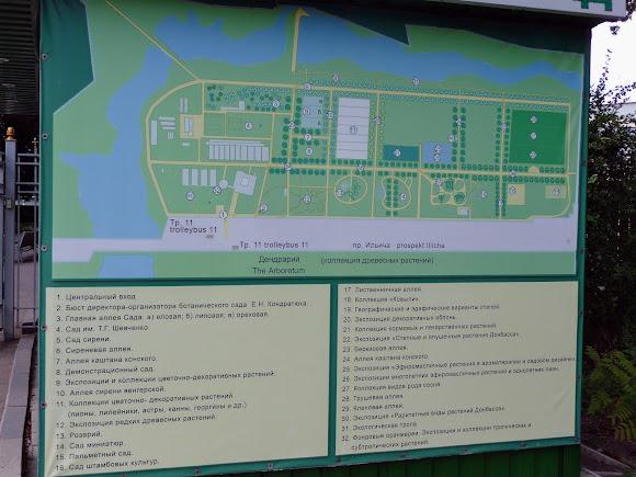 Донецьк. Ботанічний сад. План-схема