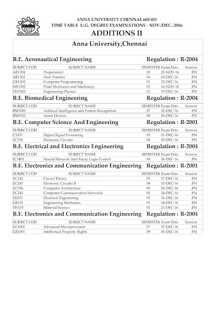 Anna University Nov Dec 2016 UG Exam Time Table Additions-2