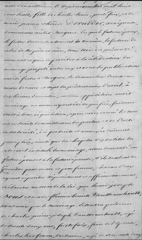 Acte de mariage de Marie Florence Benoite VANWORMHOUDT et d'Henri Joseph BOUS