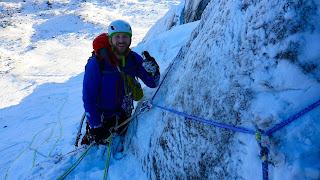 A happy Scott Flett Winter climbing on Cnap Coire na Spreidhe Cairngorms