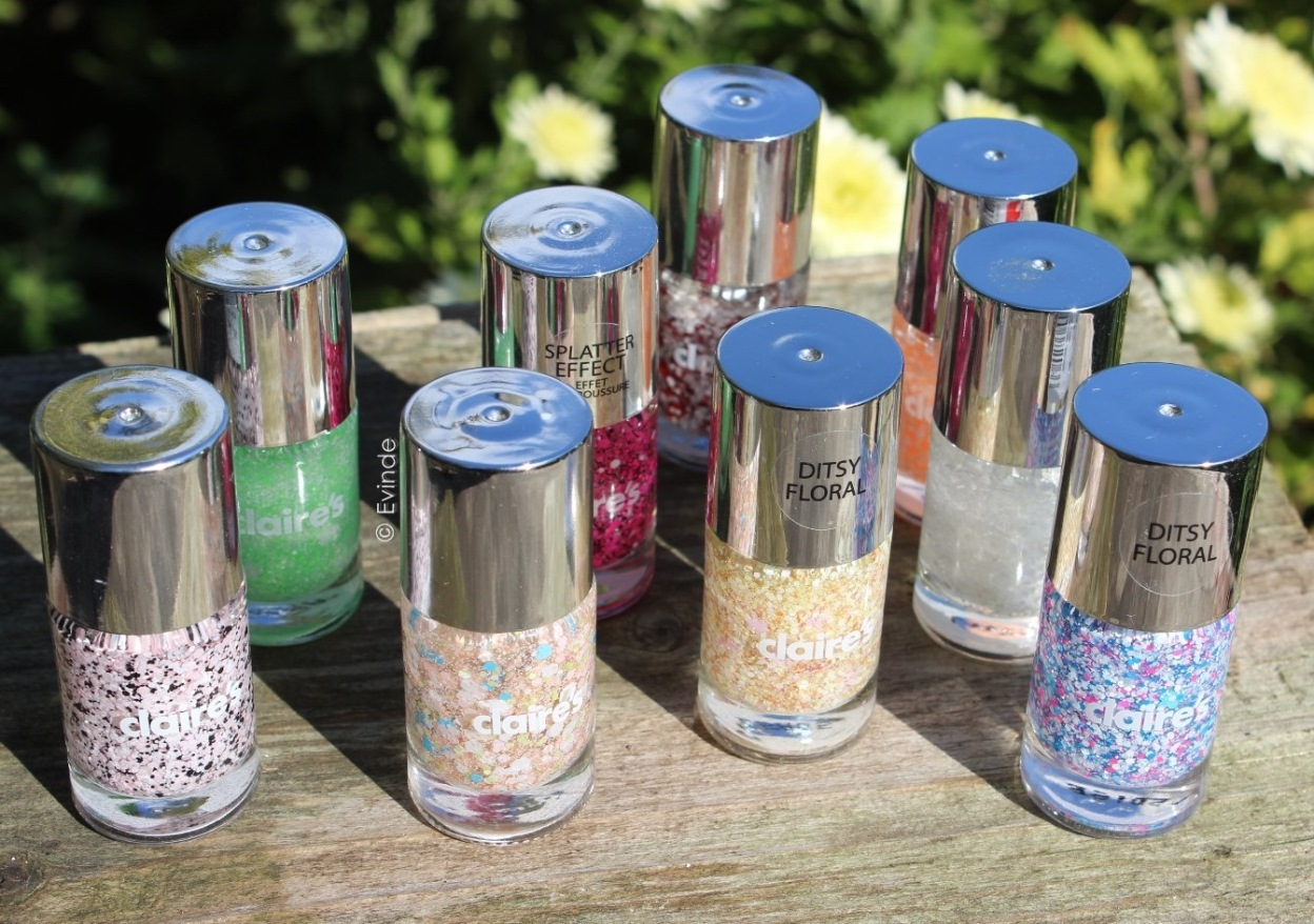 claires glitter nail polishes