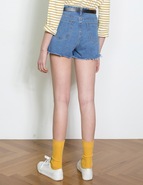 High Waist Raw Hem Denim Shorts