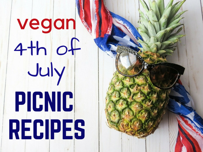 4th of July Vegan Picnic Recipe banner with pineapple in shade on American flag.