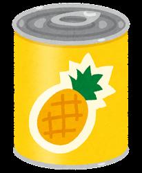 フルーツ缶詰のイラスト(パイナップル)