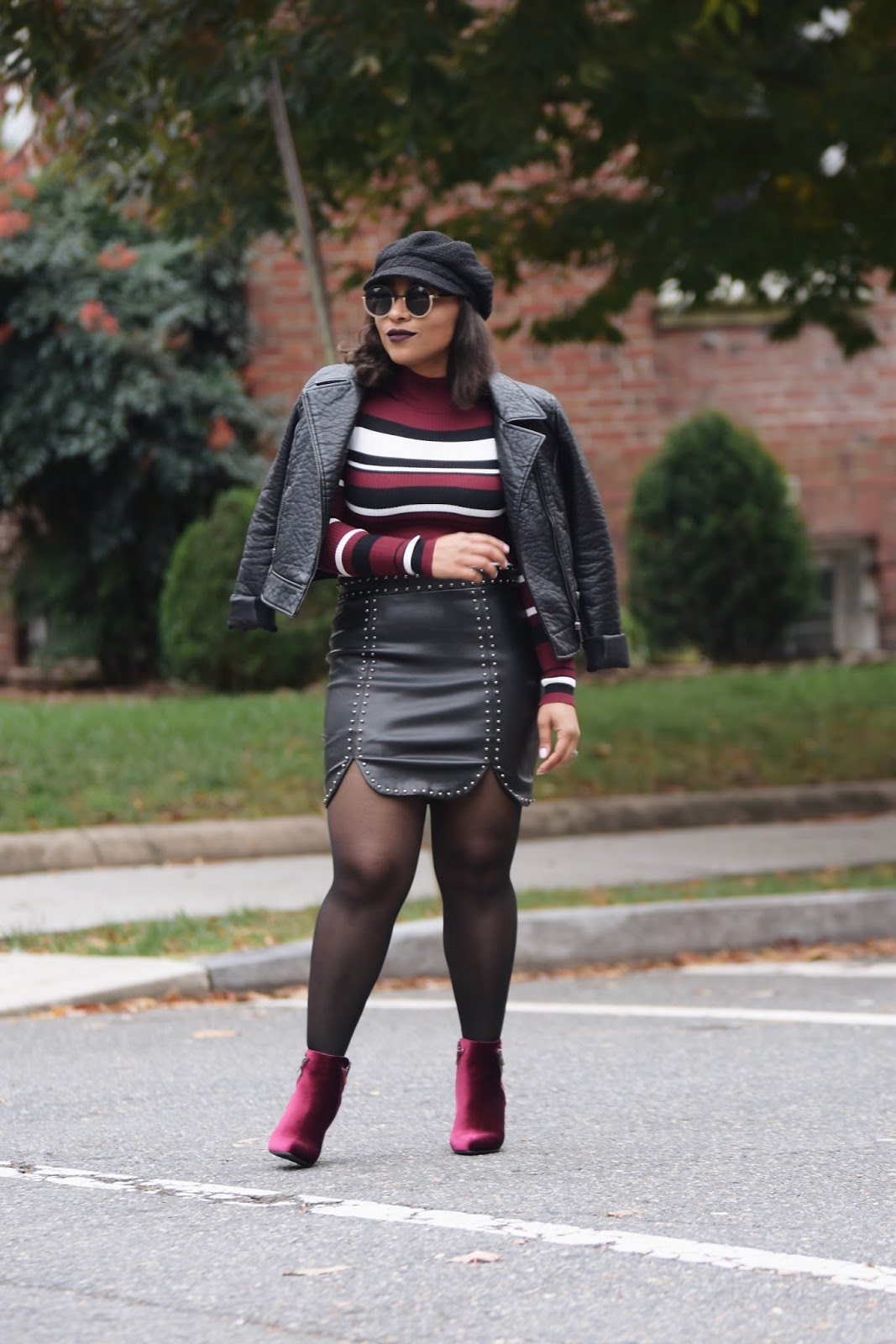 Patty's Kloset, Blogiversary, fashion blogger, fall fashion, rainbow shops, fall outfit ideas, latina bloggers, dominican blogger, newsboy hat, velvet trend, fall hat trends, fall in DC