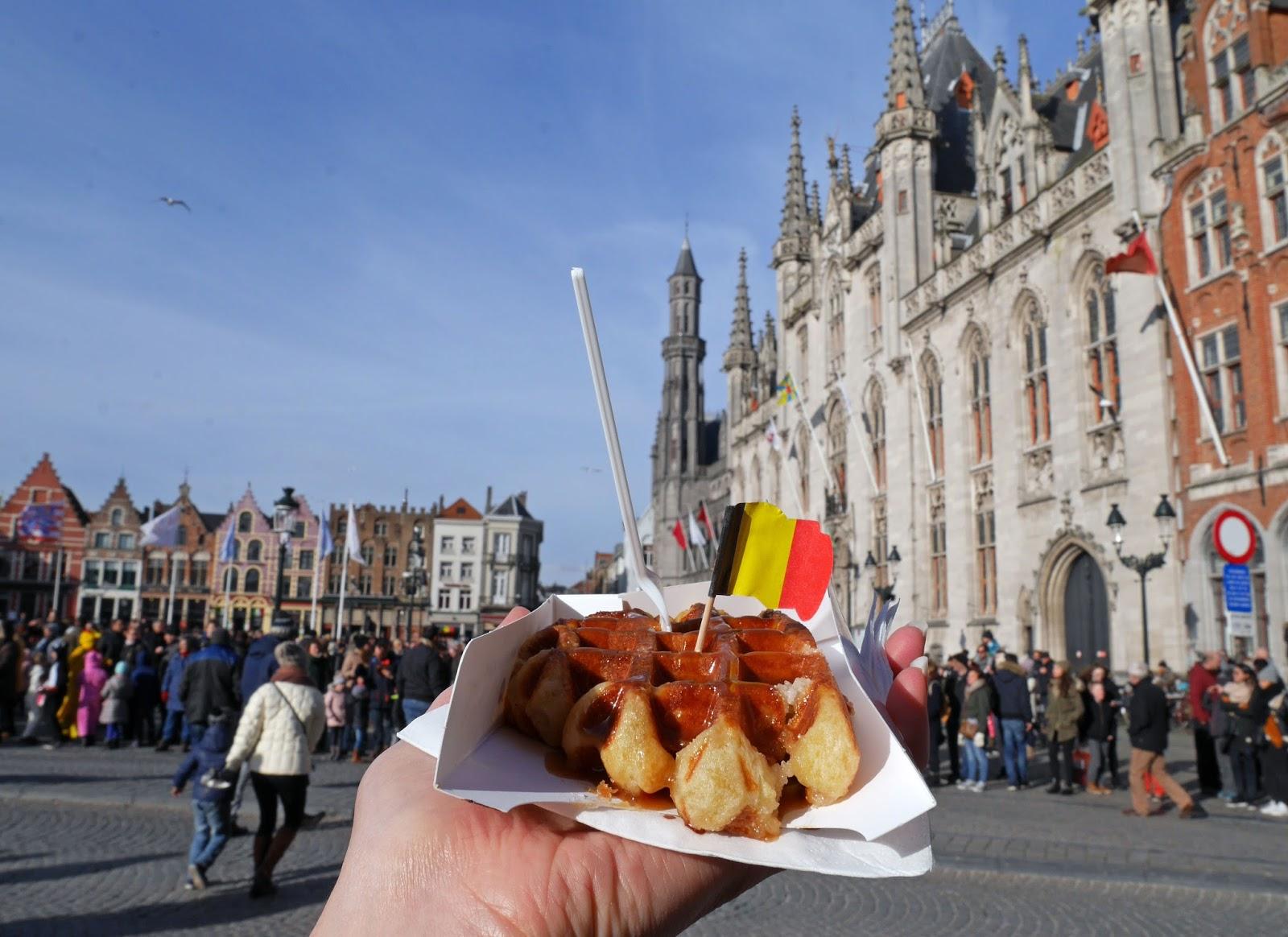 Waffles in Bruges Market Square, Belgium