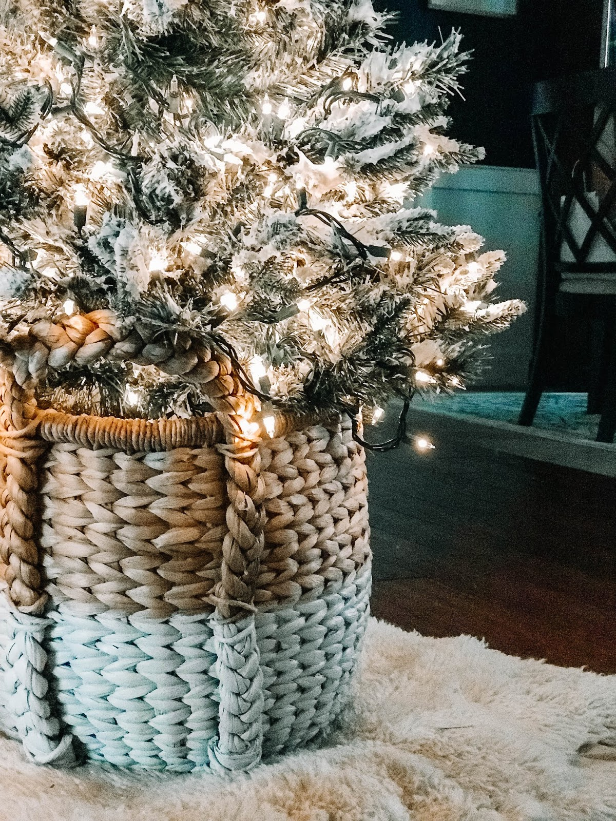 christmas tree in a basket flocked with shaving cream