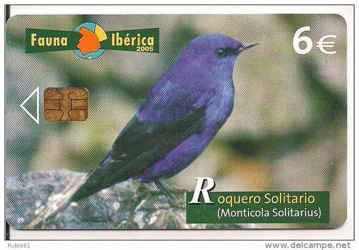 Tarjeta telefónica Roquero solitario (Monticola solitarius)