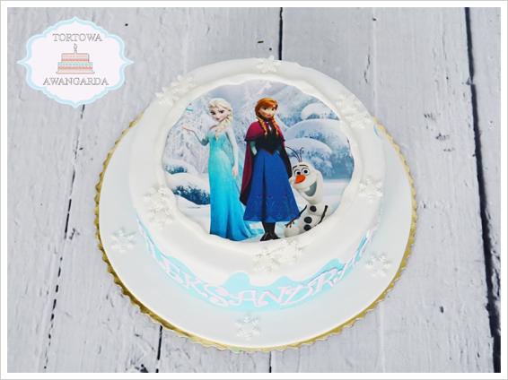 piękny tort artystyczny Frozen z Anną i Elsą z nadrukiem dla dziewczynki Warszawa