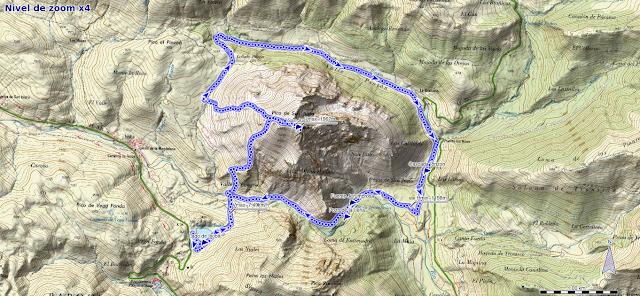 Mapa de la ruta al Pico San Justo desde el Lago de Isoba