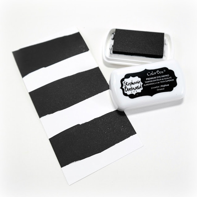 DIY Black and White Striped Patterned Paper Using Stephanie Barnard Licorice Dye Ink
