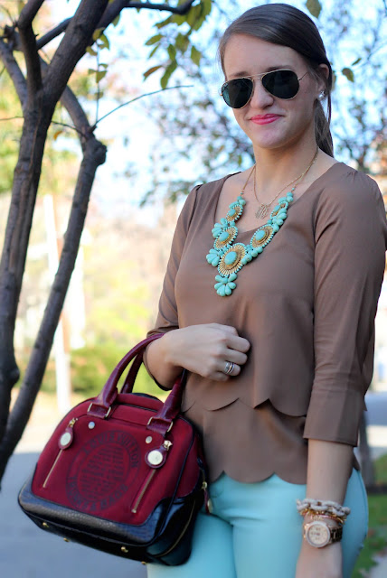 scallop top, bluetique, mint, louis vuitton red purse, statement necklaces
