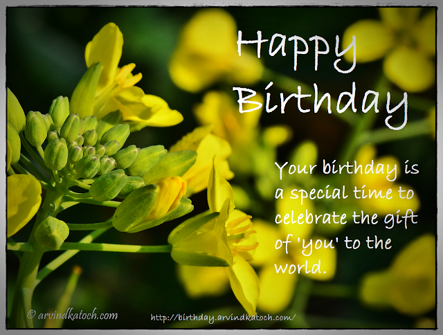Birthday Card, Yellow flowers, celebrates, world, gift,