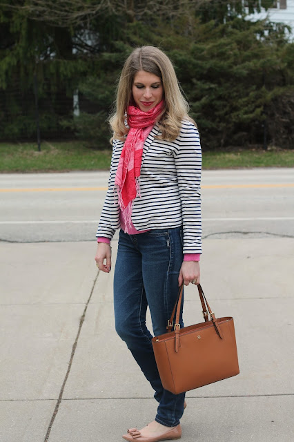 pink sweater, striped blazer, silver joga jeans, bow flats, Tory Burch tote, pink scarf