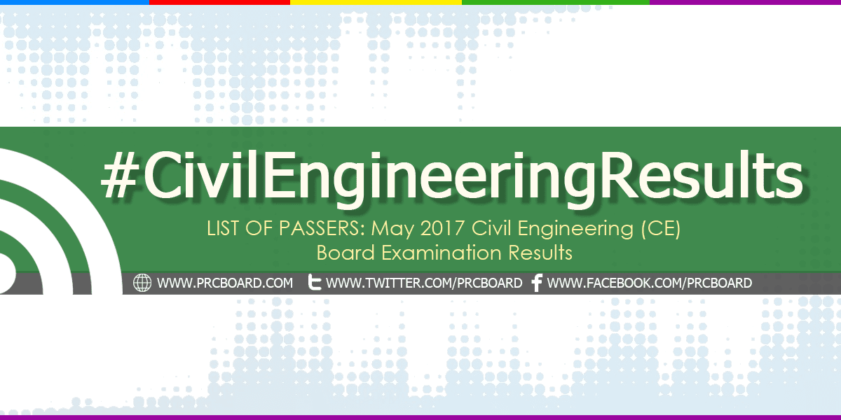LIST OF PASSERS: May 2017 Civil Engineering CE Board Exam Results ...