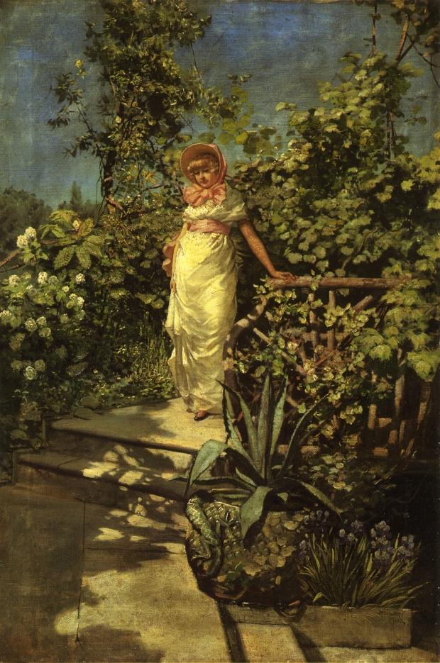 Frederick Judd Waugh Молодая женщина в саду